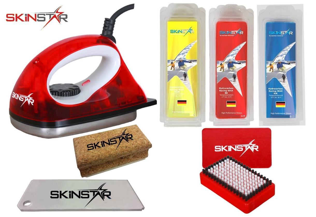 Skinstar Skiwax Set Ski Wax Starter Set with Base Repair 7 Pieces Yellow